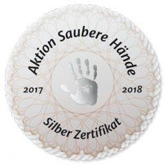 Zertifikat in Silber der Aktion Saubere Hände für Krankenhaushygine