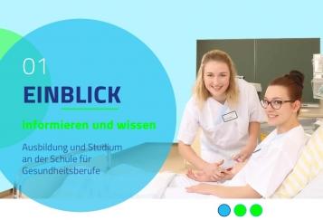 Die Startseite der neuen Website der Schule für Gesundheitsberufe